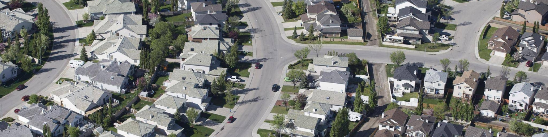 Birds-eye view of a Calgary community